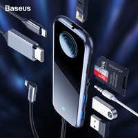 Baseus USB Type C HUB to HDMI RJ45 Multi USB 3.0 Power Adapter For MacBook Pro Air iWatch Dock 3 Port USB-C USB HUB Splitter Hub