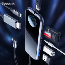 Baseus USB Type C HUB to HDMI RJ45 Multi USB 3.0 Power Adapter For MacBook Pro Air iWatch Dock 3 Port USB-C USB HUB Splitter Hub basix usb c hub to hdmi rj45 1000mbps adapter thunderbolt 3 usb type c hub dock with type c pd date transfer port for macbook