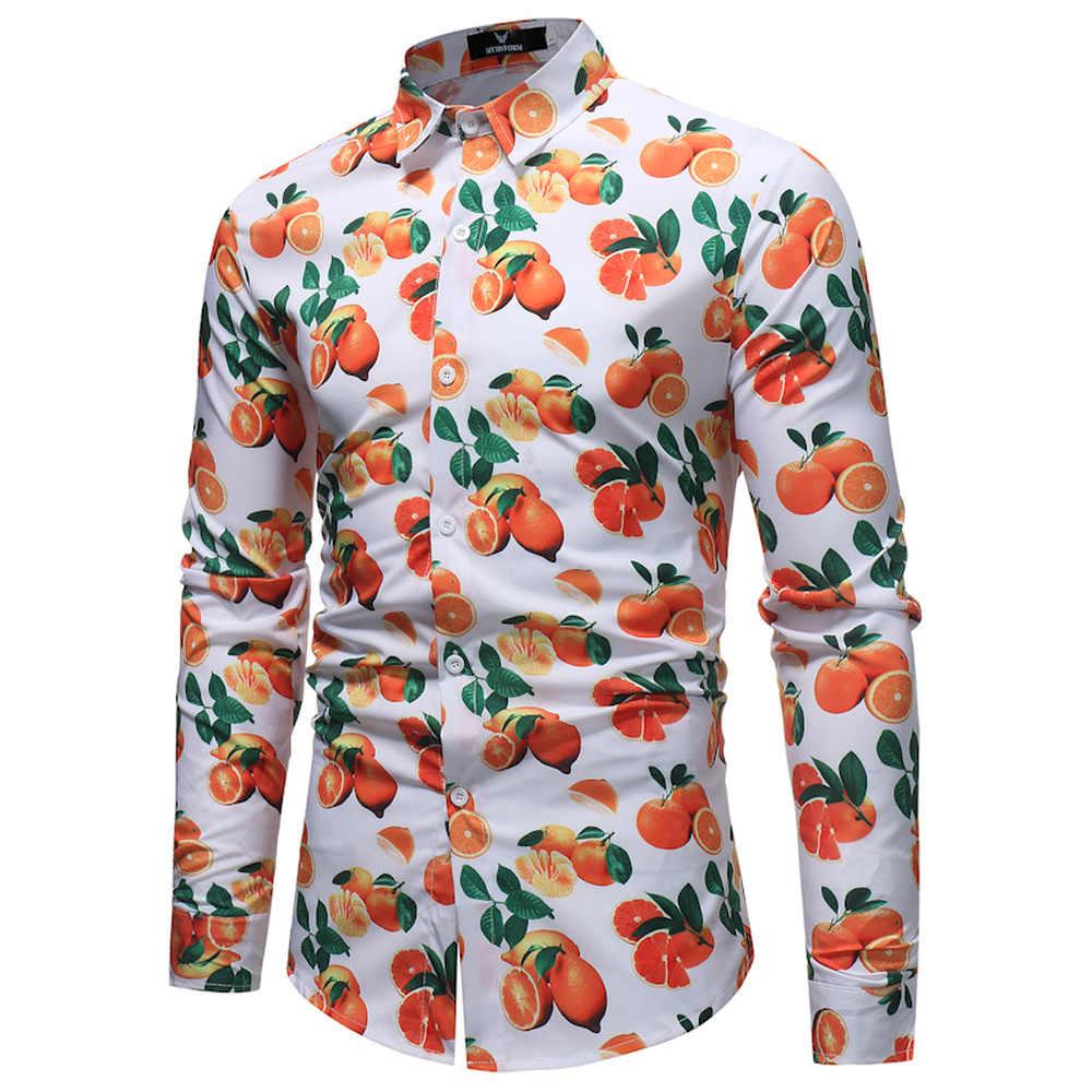 Рубашка с фруктовым принтом для мужчин 2019 весна осень новая приталенная рубашка с длинными рукавами мужские вечерние топы для отдыха повседневные рубашки хит продаж
