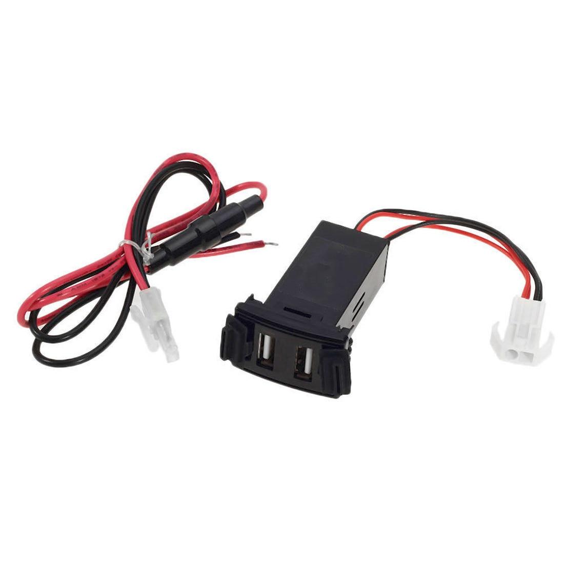 Car 2.1A Dual USB Port Socket Cell Phone Charger + Audio Input For Mazda tipos de entradas usb para celulares