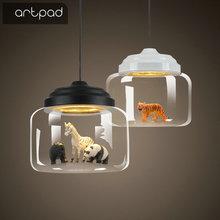 Artpad Nordic Clear Glass Pendant Light For Home Restaurant Bar Dining Room Lighting 110V 220V Kids Bedroom Lamp Black