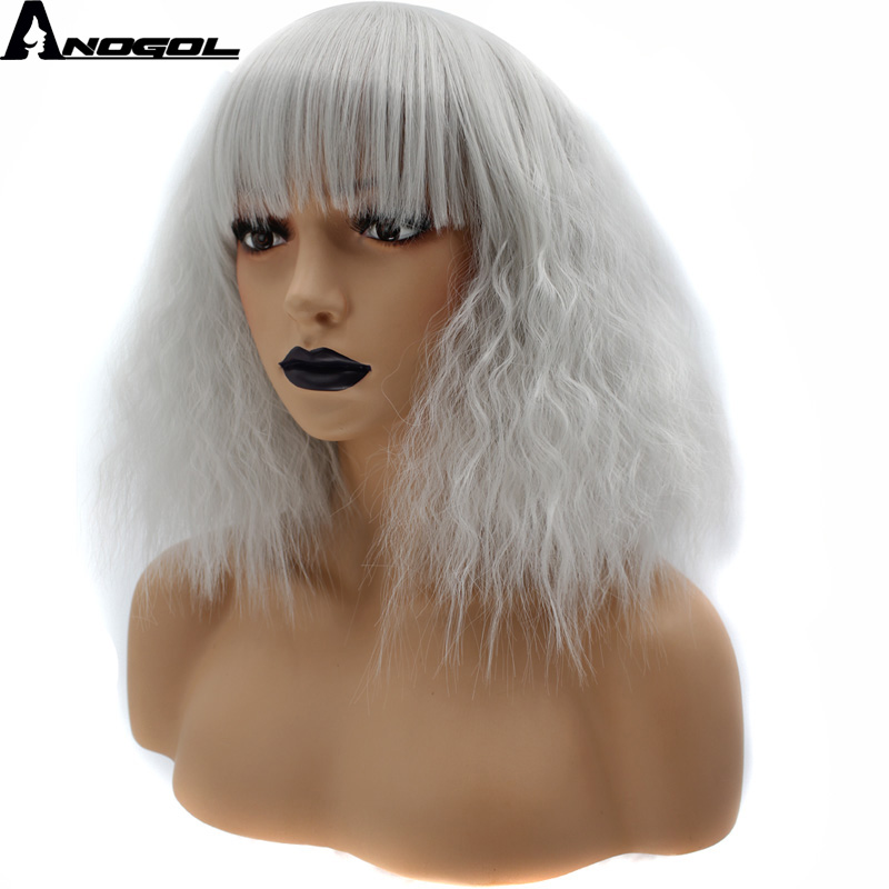 Anogol Glueless Short Curly Bob Silver Grey High Temperature Fiber Synthetic Cosplay Wigs With Bangs