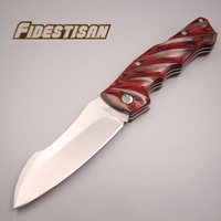 new folding pocket small knife 440c steel handmade snake red wood sharp cutting tools survival tactical sharp knife square head
