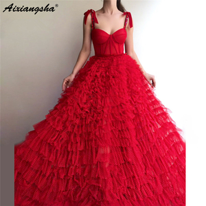 Red Muslim Evening Dresses Ball Gown Spaghetti Straps Tulle Crystals Islamic Dubai Saudi Arabic Long Formal Evening Gown