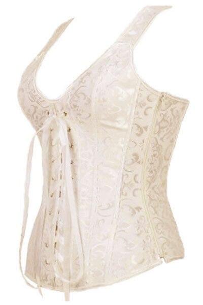 Women Corsets Para Mujer 2017 Elegant White Apricot Brocade Bridal Steampunk Corset Gothic Overbust Espartilhos E Corpetes A5377
