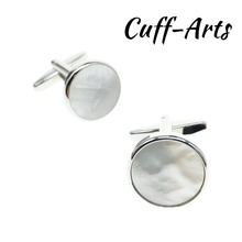Cuffarts Cufflinks for Mens Mother Of Pearl  Shirt Silver Shell Wedding Bijoux Homme Fathers Gift C20105