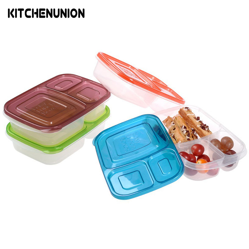 4pcs set New Design 3 compartment Bento Box Food Containers KC25248