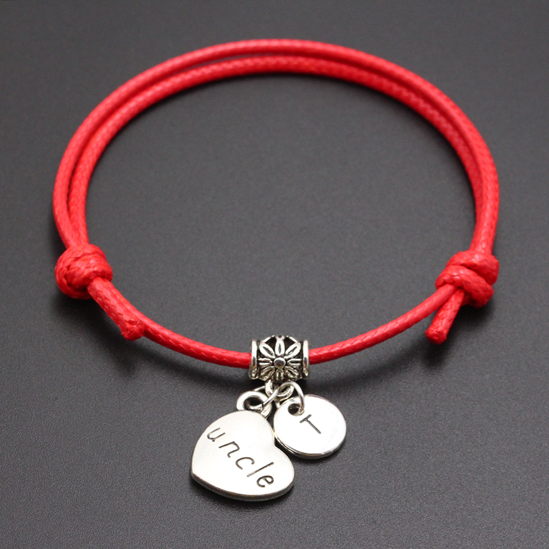 New A-Z Letters Uncle Heart Pendant Red Thread String Bracelet Handmade Diy Lucky Rope Bracelet For Women Men Jewelry Gift