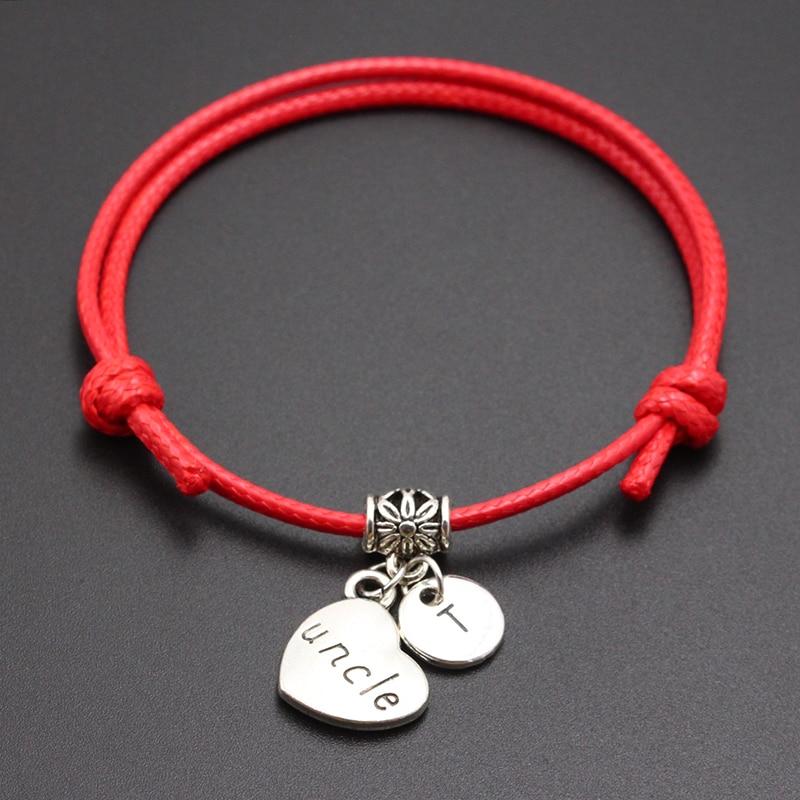 New A-Z Letters Uncle Heart Pendant Red Thread String Bracelet Handmade Diy Lucky Rope Bracelet For Women Men Jewelry Gift