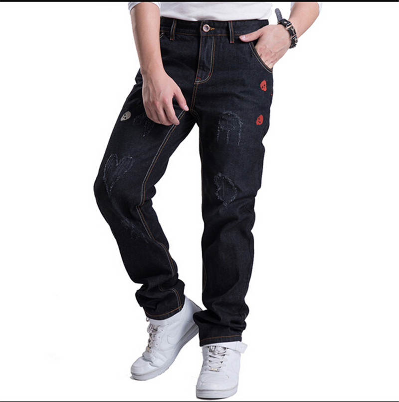 ФОТО NEW Hot selling Men's Straight Jeans Fashion Trousers  Jeans Denim Pants boy's Classic jeans Full Length pants Plus Size 30-46