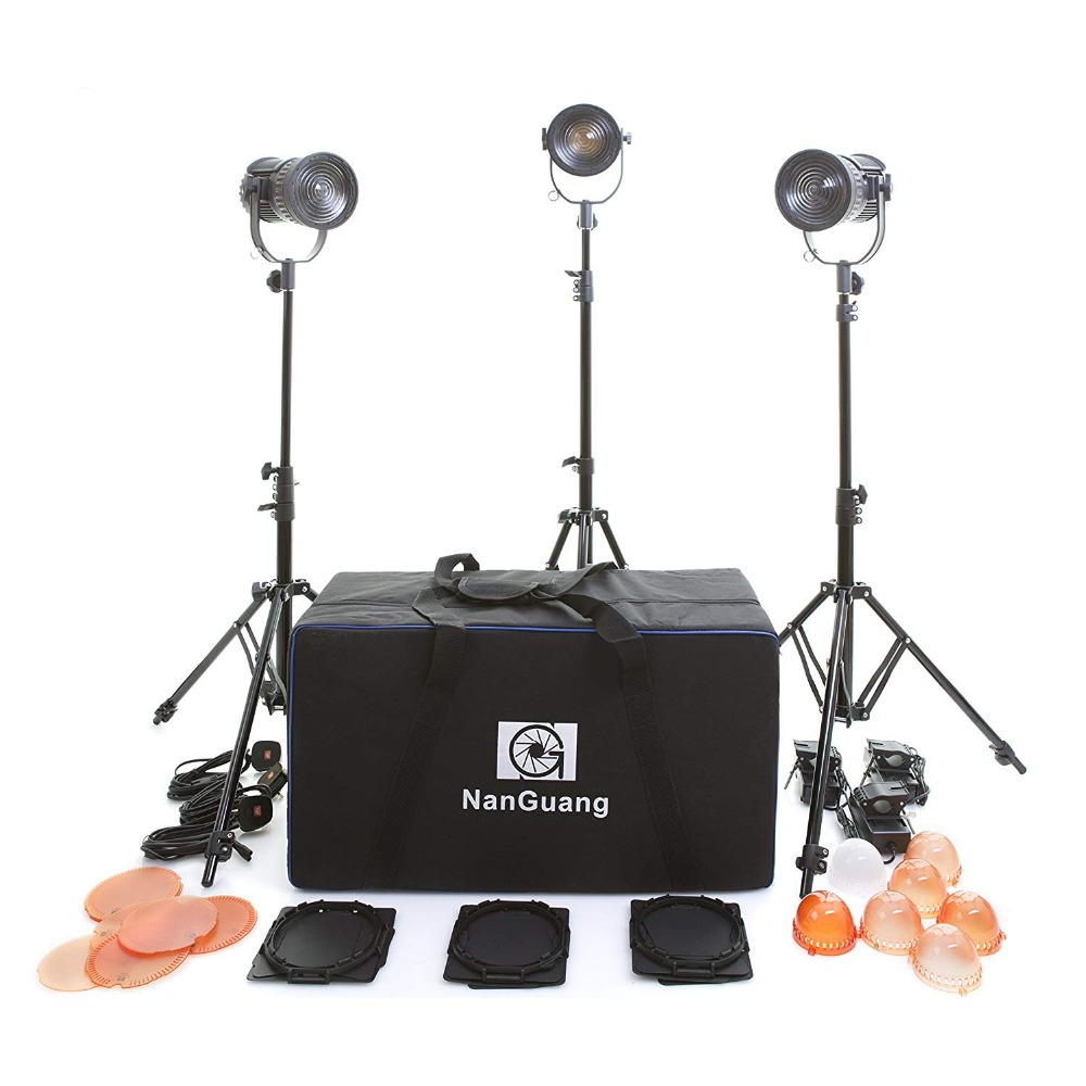 NanGuang LED Fresnel Light Studio Lighting 3 Head Kit with Stands Filters and Carry Case 30 W for Professional Video Film CD50