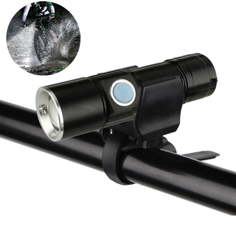 все цены на Bicycle Bike Ultra-Bright 4000 Lumens Stretch Front LED Flashlight Lamp Light Zoom 200m USB Rechargeable Cycling Light онлайн