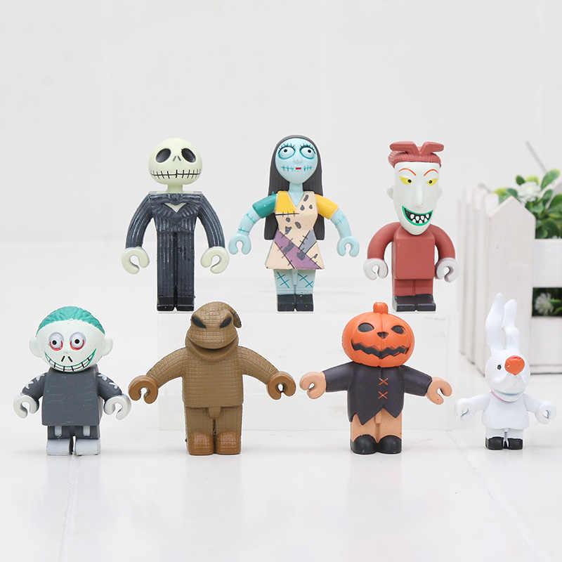 7pcs/lot 6CM The Nightmare Before Christmas Jack Skellington PVC Action Figure Collectible Model Toys