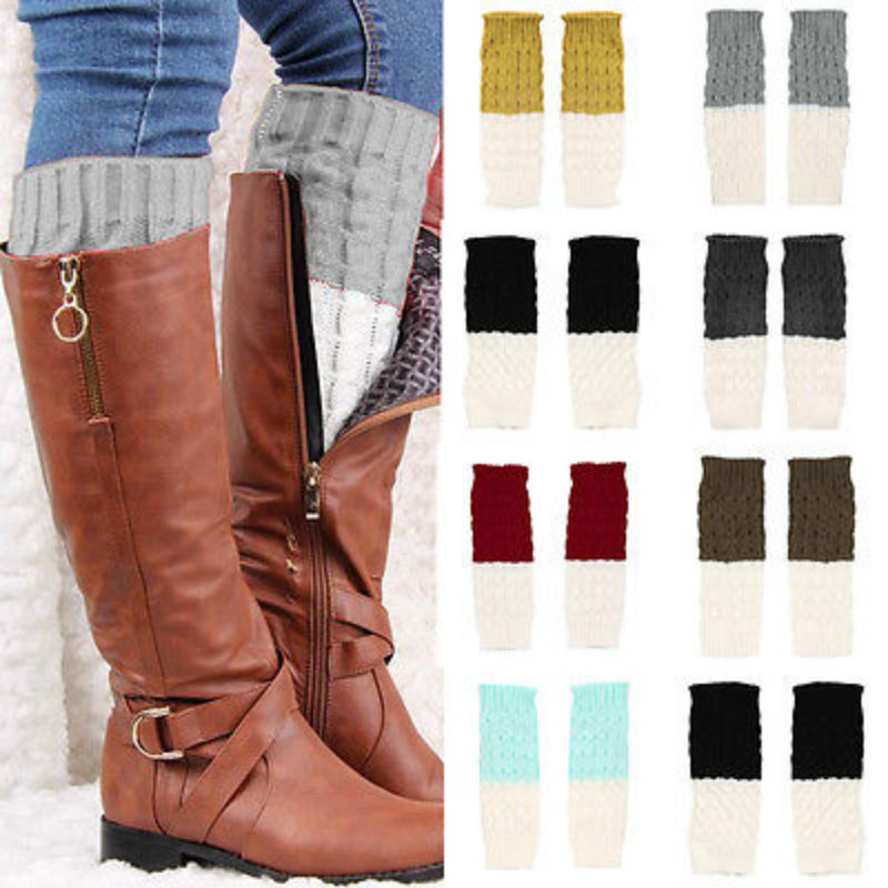 Knit Boot Socks Pattern : New Arrival 2015 women knit boot cuffs acrylic cable pattern lace boot socks ...