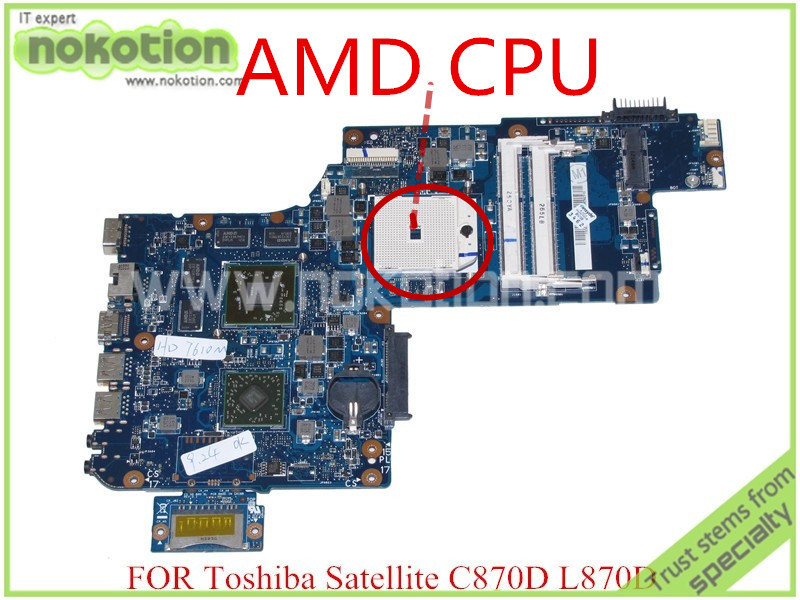 NOKOTION H000041580 for toshiba satellite L870D C870 C870D laptop motherboard 17.3'' ATI Graphics PLAC CSAC DSC Mainboard nokotion for toshiba satellite a100 a105 motherboard intel 945gm ddr2 without graphics slot sps v000068770 v000069110