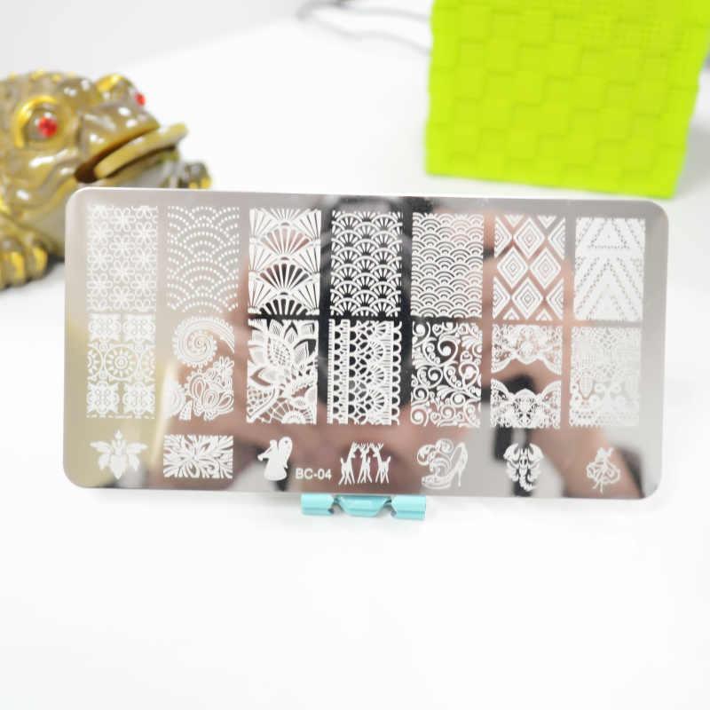 1 ورقة الدانتيل والزهور سلسلة ختم مسمار الفن صورة لوحة ، 6*12 سنتيمتر الفولاذ المقاوم للصدأ قالب البولندية مانيكير أدوات الاستنسل BC-04