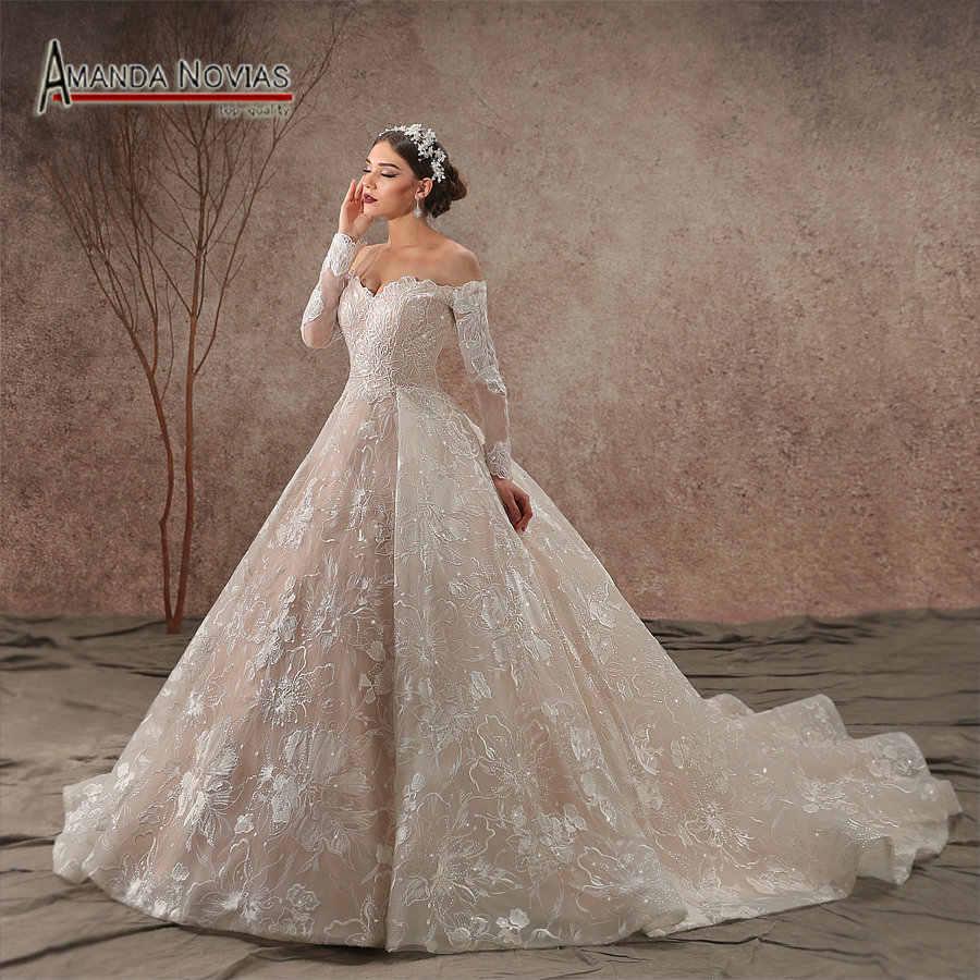 92c52ccf3b9 Реальные фотографии 2019 с открытыми плечами с длинным рукавом Кружевное Свадебное  платье новое