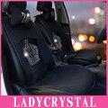 Ladycrystal Custom Bling Bling Crown Crystal Rhinestone Auto Car Styling Fundas de Asiento Suave Cubierta de Asiento de Coche de Terciopelo Caliente Universal