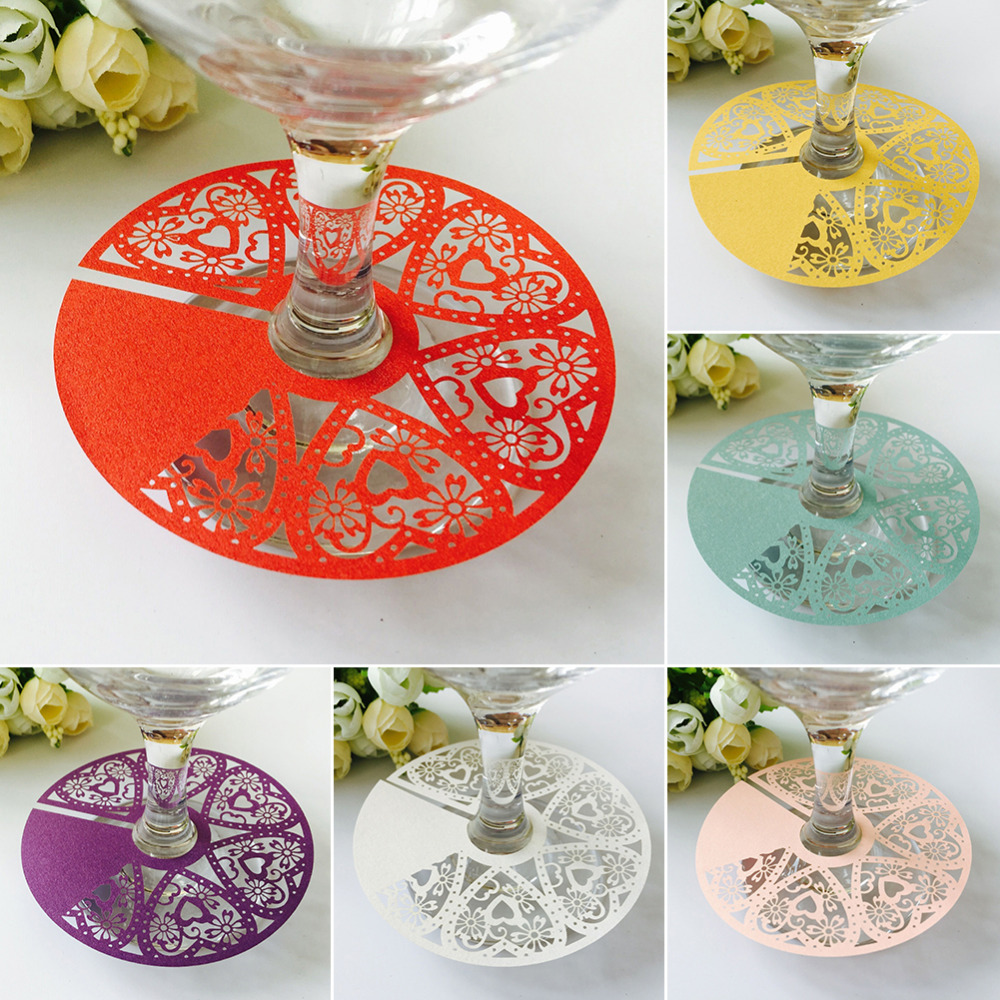 50pcs/set DIY Name Cards for Glass Wine Cups Wedding Flower Laser Cut Paper Card Crafts Birthday Party Table Decoration