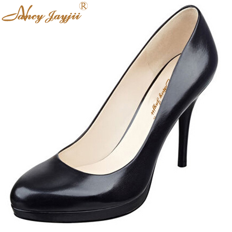 ФОТО Nancyjayjii Fashion Women Black Patent Leather Round Roe High Thin Heels Pumps,Shoes For Woman,Dress&Career&Office,Plus 4-16