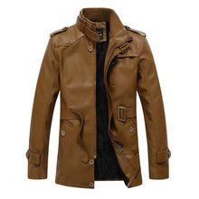 Winter Warm Men Pu Leather Jacket Faux Fur Long Leather Coats Brand Quality Motorcycle jackets jaqueta de couro 4XL