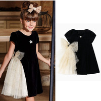 2019 New Girls Dress Black Kids Dresses For Girls Party Dress Bridesmaid Dresses Short Sleeve Ball Gown Clothes