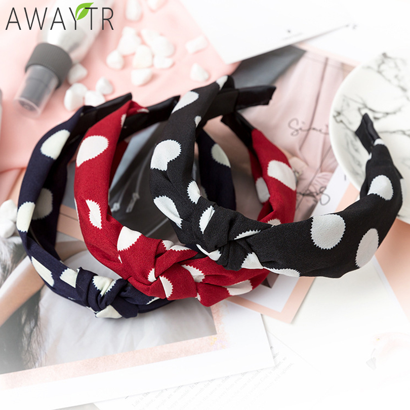 AWAYTR Fashion Polka Dot Print Headbands Cross Women Elastic Headband Twist Knot Wide Print   Headwear   Hair Hoop Hair Accessories