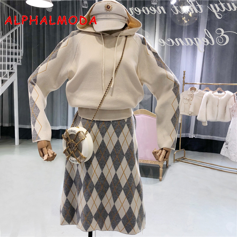 ALPHALMODA 2018Style Long Sleeves Hooded Sweater Top + Mid-calf Skirt 2pcs Casual Knitting Suits Plaids Print Trendy Winter Set