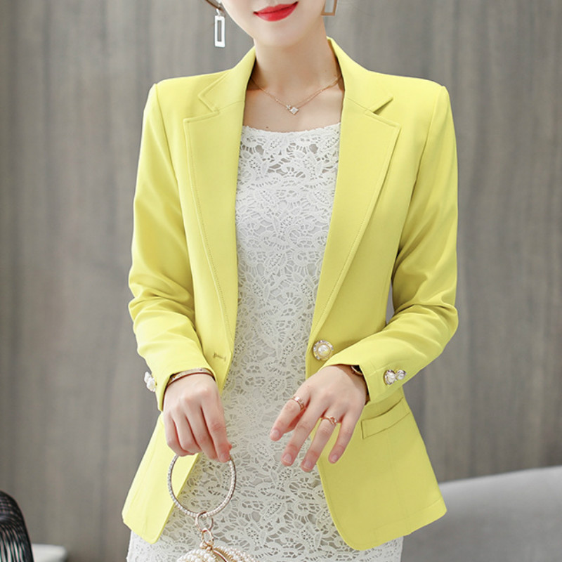 2019 Autumn Spring Women Blazers And Jackets New Korean Slim Coat Women's Suit Office Lady Yellow Black Blazers Solid Suits