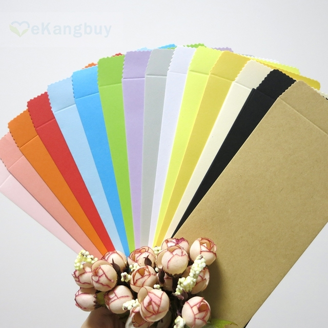 """50pcs 170x85mm(6.6"""" x 3.3"""") Color Paper Envelope Vertical Chinese Style Gift Envelope"""