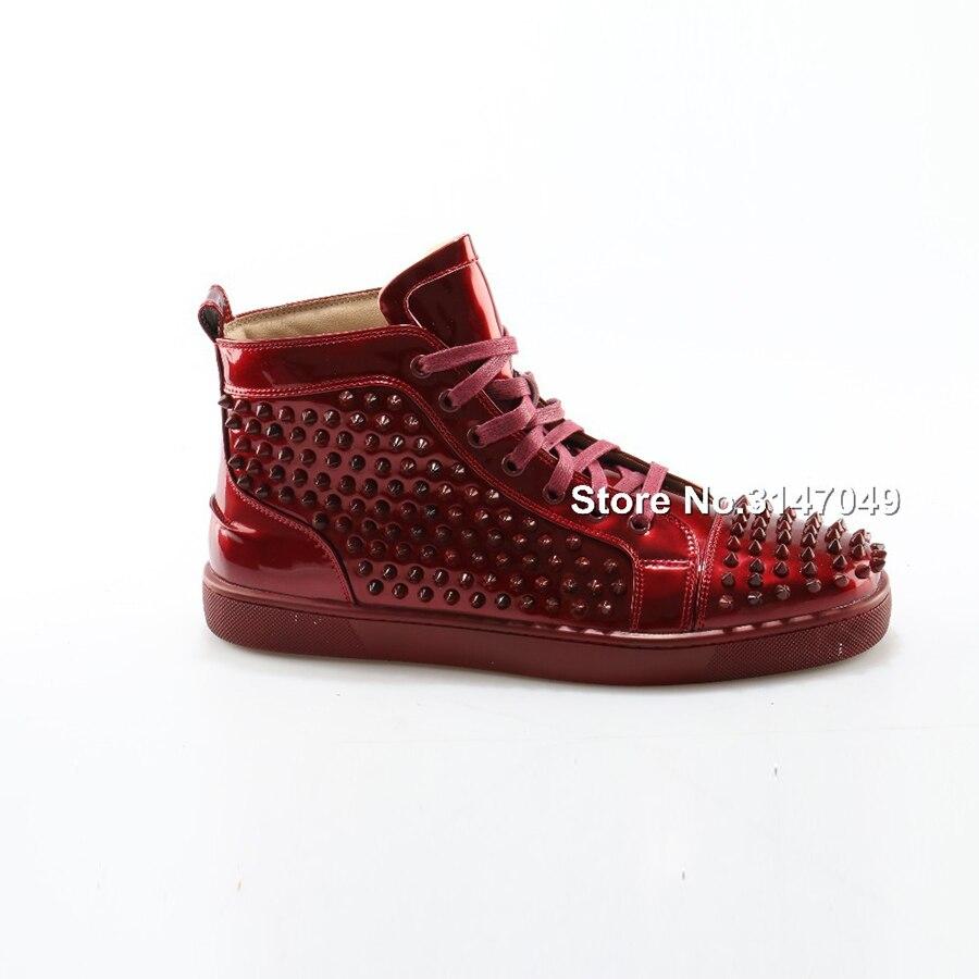 OKHOTCN 2018 nouveaux hommes chaussures décontractées en cuir verni rouge crampons chaussures cloutées étoiles haut de gamme Rivet mocassins à lacets Zapatos Hombre - 4