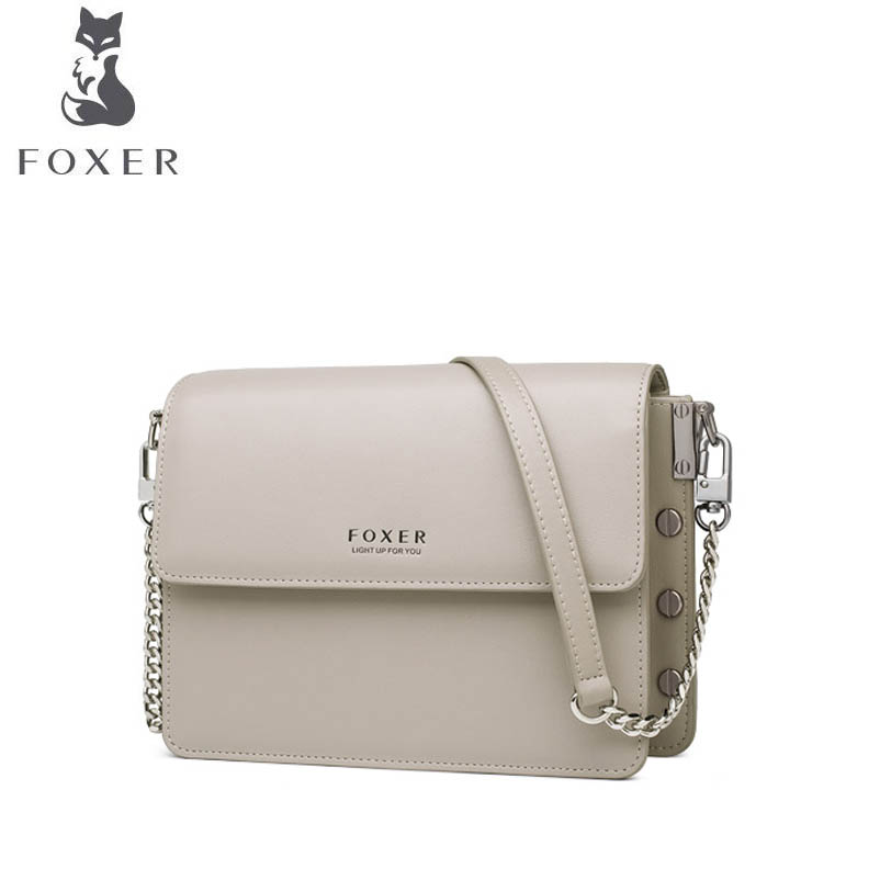 FOXER  2019 new retro single shoulder messenger bag leather bag female Fashion small square bag Designer bag femaleFOXER  2019 new retro single shoulder messenger bag leather bag female Fashion small square bag Designer bag female