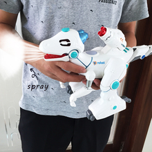 Electric toy walking dinosaur Electronic Music robot With Light Sound Mechanical dinosaurs  Interactive Robots Toy RC Robot gift electric toy large size walking spray dinosaur robot with light sound mechanical dinosaurs model toys for kids children