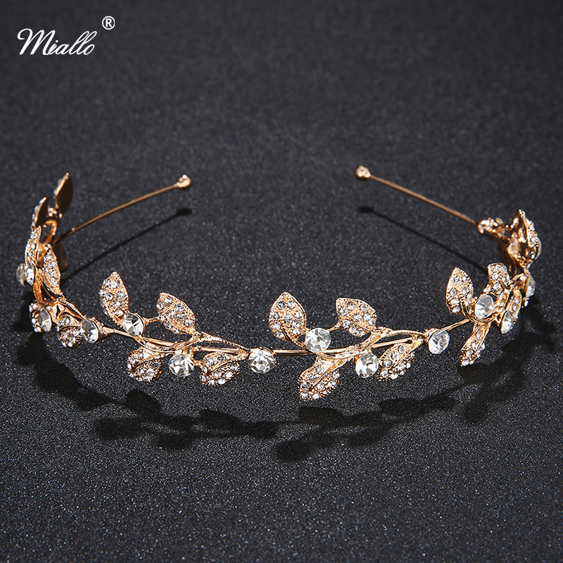 Miallo Rhinestone Pearl Crown Headband Vintage Crystal Bridal Tiaras Wedding Accessories Party Pageant Leaves Jewelry