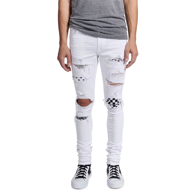 High Street Fashion Men's Jeans White Color Skinny Fit Hip Hop Jeans Stretch Punk Pants Baplein Brand Destroyed Ripped Jeans Men white mens skinny jeans 2017 fashion mens jeans slim straight high quality stretch skinny ripped biker jeans for men jw108
