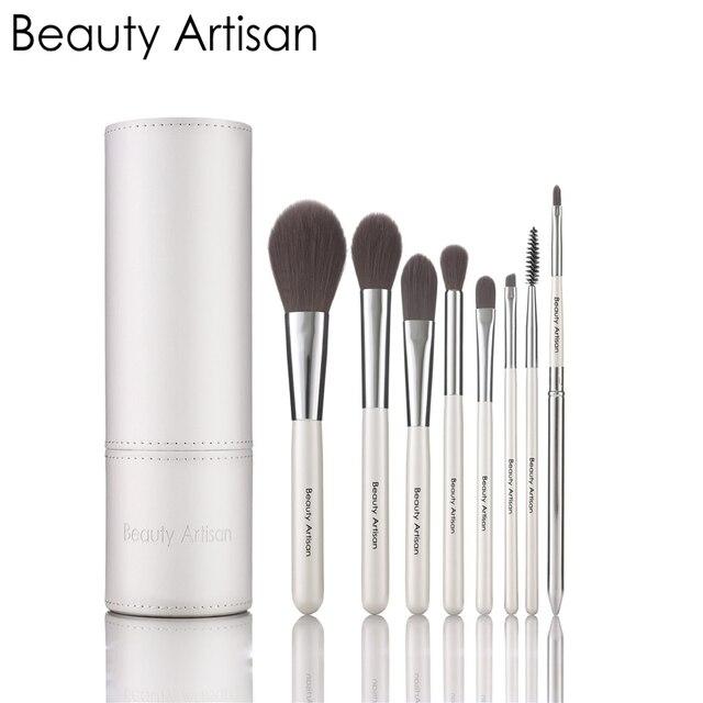 Beauty artisan colores mezclados maquillaje herramientas de cepillo del maquillaje principiantes 8 unids/set con almacenamiento tube maquillaje cepillos lana de alto grado