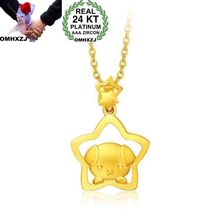 OMHXZJ Wholesale European Fashion Woman Girl Party Wedding Gift Dog 24KT Yellow Gold Pendant Necklace NA180