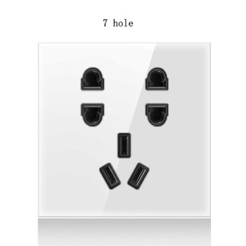 1 2 3 4 gang 2 way White Tempered glass switch Light pressure Wall Switch With LED lights France Germany socket household USB 14