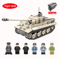 Tiger Tank Legoed Technic Building Blocks Military World War II WW2 DE tank Small Particles Assembled Boy Educational Toys