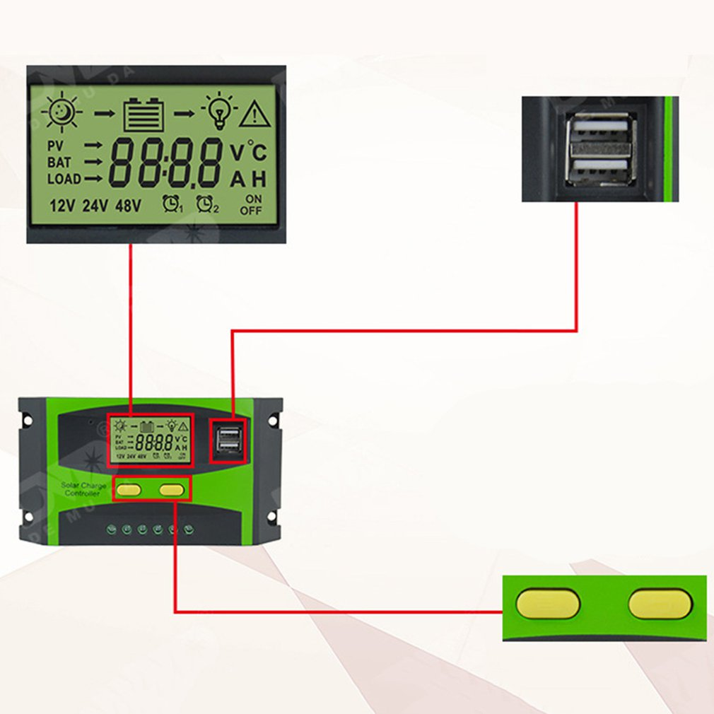 12/24V Solar Controller With Lcd Display Controller Solar Panel Work Dual Usb Regulator Output Charge Solar Auto Lcd