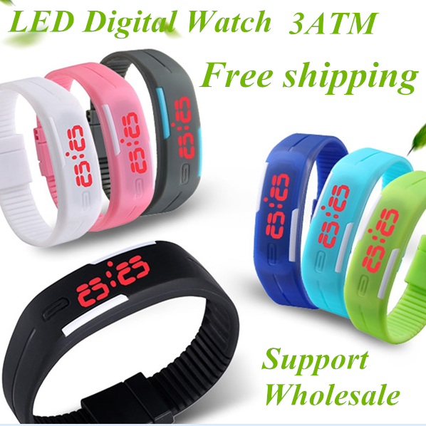 Men's Women's Kids Rubber LED Watches