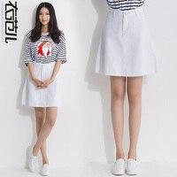 2016 A Line Skirt Sheds Denim Skirt Medium High Waist Denim Skirt Bust Skirt White