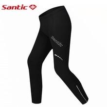 Santic Winter Cycling Pants Men's Long Gel Padded compression pantalones Thermal Bike Bicycle Trousers Elastic Waist Black S-3XL