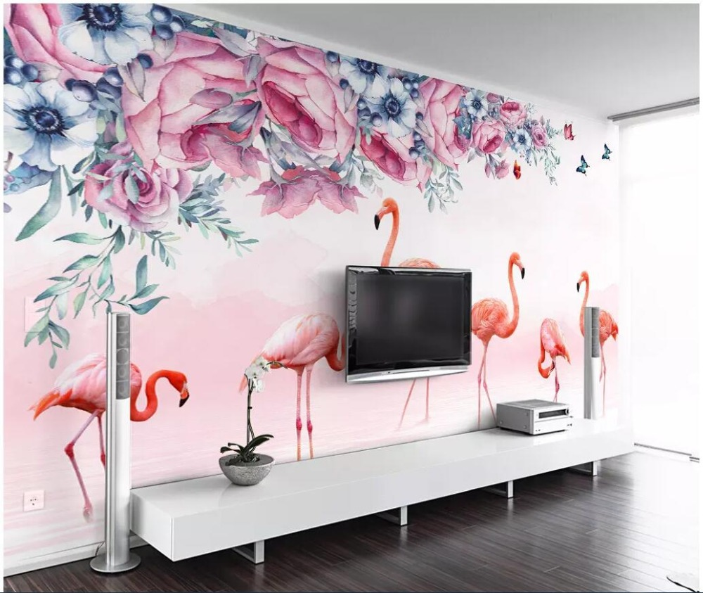 Papier peint photo 3d mural personnalisé rose frais papillon flamingo fond amélioration de la maison salon papier peint pour murs 3 d