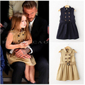 YB1346754 Retail Heigh Quality Autumn Baby Girl Trench Solid Sleeveless Girl Coat Double Breasted Appliques Sashes Outerwear