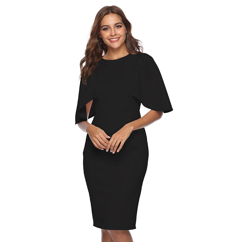 Women Elegant Ruffle Sleeve Ruched Pinup Vestidos Party Wear To Work Fitted Stretch Slim Wiggle Pencil Sheath Bodycon Dress Suit 18