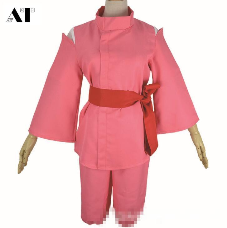 アニメ映画千と千尋の神隠し千尋コスプレ衣装の女の子かわいいピンク着物japeneseスタイルレディースホット衣装