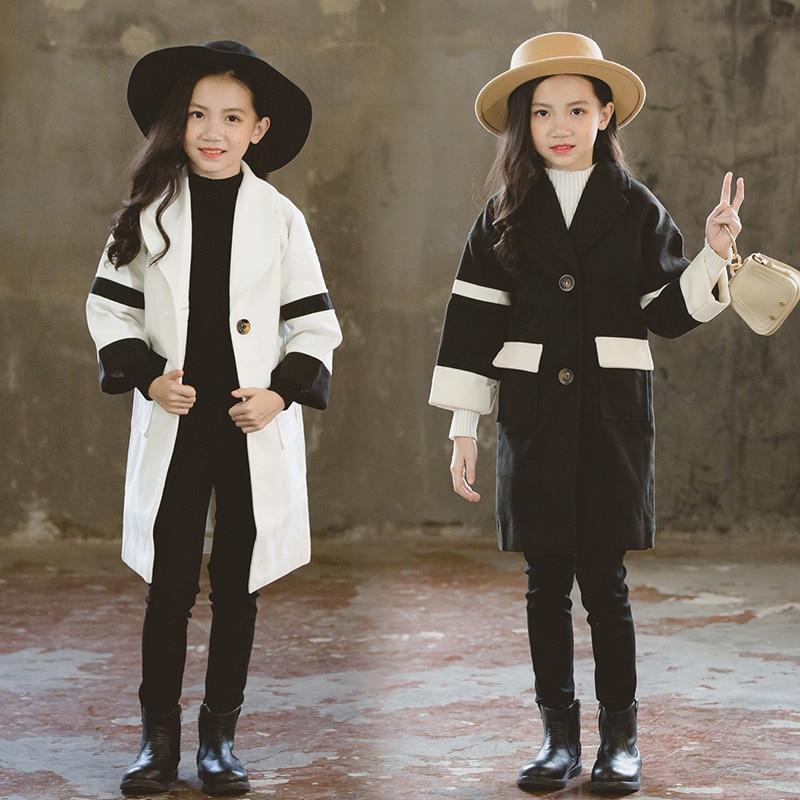 Korean kids clothes girls long patchwork velvet jacket for children tops clothing new 2018 autumn winter trench coats baby girls