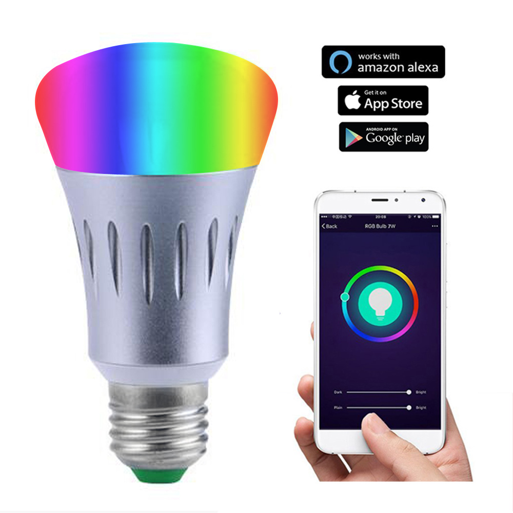 JIAWEN LED Wireless Wifi APP Remote Control Smart Light Dimmable RGB LED Lamp Bulb work with Amazon Alexa and Google Assistant keyshare dual bulb night vision led light kit for remote control drones