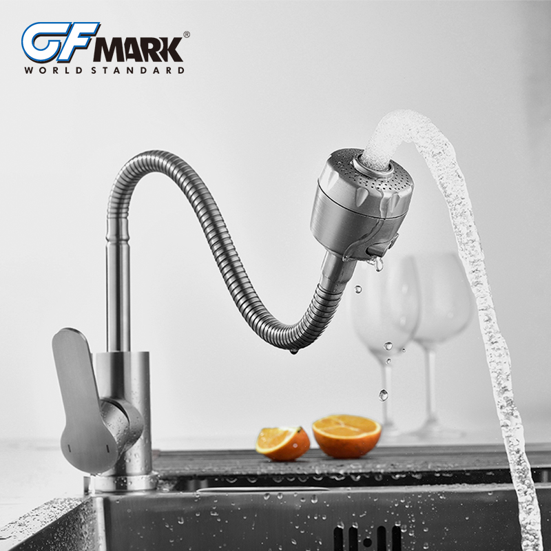 GFmark Multifunction Crane Faucet For Kitchen Tap Nozzle Switching Brushed Water Taps SUS304 Stainless Steel Kitchen